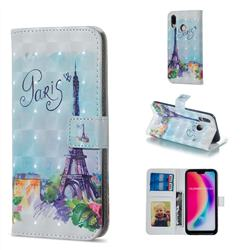 Paris Tower 3D Painted Leather Phone Wallet Case for Huawei P20 Lite