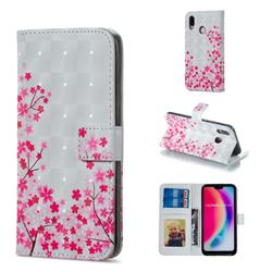 Cherry Blossom 3D Painted Leather Phone Wallet Case for Huawei P20 Lite