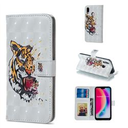 Toothed Tiger 3D Painted Leather Phone Wallet Case for Huawei P20 Lite