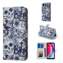 Skull Flower 3D Painted Leather Phone Wallet Case for Huawei P20 Lite