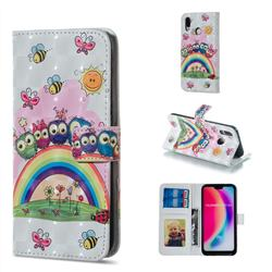 Rainbow Owl Family 3D Painted Leather Phone Wallet Case for Huawei P20 Lite