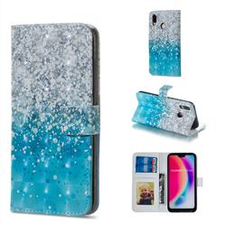 Sea Sand 3D Painted Leather Phone Wallet Case for Huawei P20 Lite