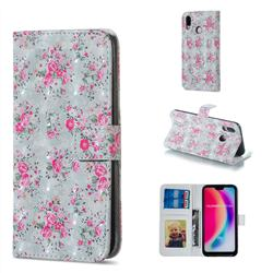 Roses Flower 3D Painted Leather Phone Wallet Case for Huawei P20 Lite