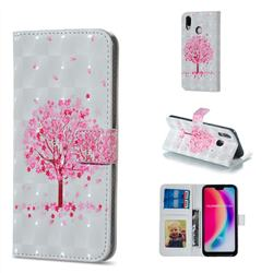 Sakura Flower Tree 3D Painted Leather Phone Wallet Case for Huawei P20 Lite