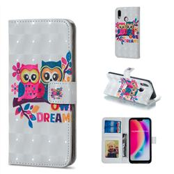 Couple Owl 3D Painted Leather Phone Wallet Case for Huawei P20 Lite