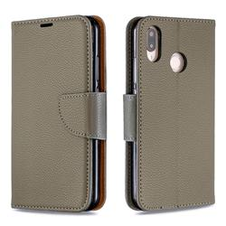 Classic Luxury Litchi Leather Phone Wallet Case for Huawei P20 Lite - Gray