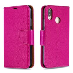 Classic Luxury Litchi Leather Phone Wallet Case for Huawei P20 Lite - Rose