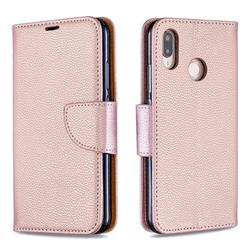 Classic Luxury Litchi Leather Phone Wallet Case for Huawei P20 Lite - Golden