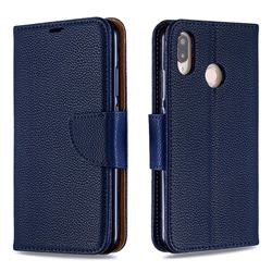 Classic Luxury Litchi Leather Phone Wallet Case for Huawei P20 Lite - Blue