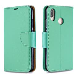 Classic Luxury Litchi Leather Phone Wallet Case for Huawei P20 Lite - Green