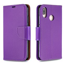 Classic Luxury Litchi Leather Phone Wallet Case for Huawei P20 Lite - Purple