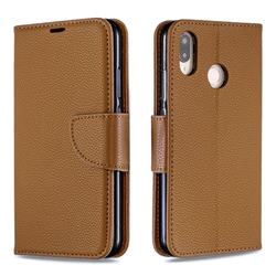 Classic Luxury Litchi Leather Phone Wallet Case for Huawei P20 Lite - Brown