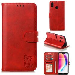 Embossing Happy Cat Leather Wallet Case for Huawei P20 Lite - Red