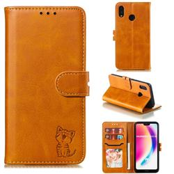 Embossing Happy Cat Leather Wallet Case for Huawei P20 Lite - Yellow