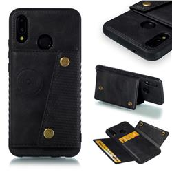 Retro Multifunction Card Slots Stand Leather Coated Phone Back Cover for Huawei P20 Lite - Black