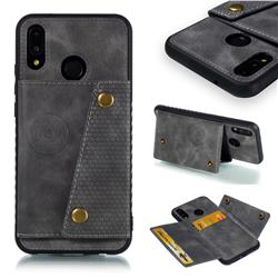 Retro Multifunction Card Slots Stand Leather Coated Phone Back Cover for Huawei P20 Lite - Gray