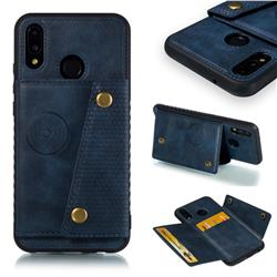Retro Multifunction Card Slots Stand Leather Coated Phone Back Cover for Huawei P20 Lite - Blue