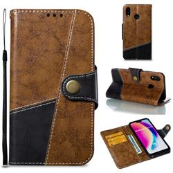 Retro Magnetic Stitching Wallet Flip Cover for Huawei P20 Lite - Brown
