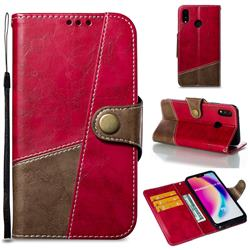 Retro Magnetic Stitching Wallet Flip Cover for Huawei P20 Lite - Rose Red