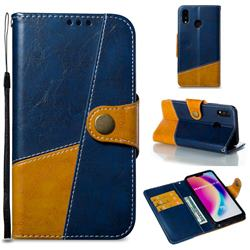 Retro Magnetic Stitching Wallet Flip Cover for Huawei P20 Lite - Blue