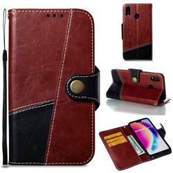 Retro Magnetic Stitching Wallet Flip Cover for Huawei P20 Lite - Dark Red