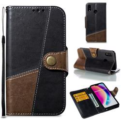 Retro Magnetic Stitching Wallet Flip Cover for Huawei P20 Lite - Dark Gray