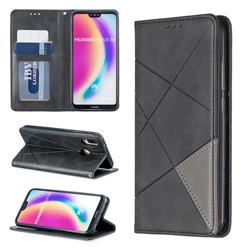 Prismatic Slim Magnetic Sucking Stitching Wallet Flip Cover for Huawei P20 Lite - Black