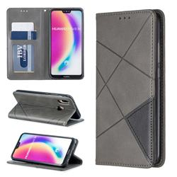 Prismatic Slim Magnetic Sucking Stitching Wallet Flip Cover for Huawei P20 Lite - Gray