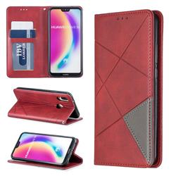 Prismatic Slim Magnetic Sucking Stitching Wallet Flip Cover for Huawei P20 Lite - Red