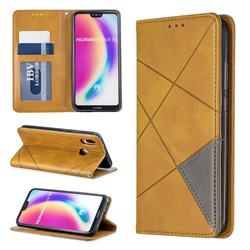Prismatic Slim Magnetic Sucking Stitching Wallet Flip Cover for Huawei P20 Lite - Yellow