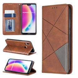 Prismatic Slim Magnetic Sucking Stitching Wallet Flip Cover for Huawei P20 Lite - Brown