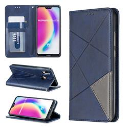Prismatic Slim Magnetic Sucking Stitching Wallet Flip Cover for Huawei P20 Lite - Blue