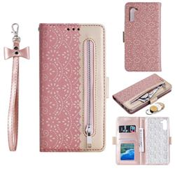Luxury Lace Zipper Stitching Leather Phone Wallet Case for Huawei P20 Lite - Pink