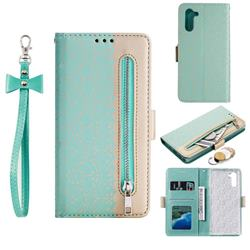 Luxury Lace Zipper Stitching Leather Phone Wallet Case for Huawei P20 Lite - Green
