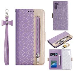 Luxury Lace Zipper Stitching Leather Phone Wallet Case for Huawei P20 Lite - Purple