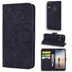 Retro Embossing Mandala Flower Leather Wallet Case for Huawei P20 Lite - Black