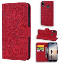 Retro Embossing Mandala Flower Leather Wallet Case for Huawei P20 Lite - Red