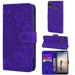 Retro Embossing Mandala Flower Leather Wallet Case for Huawei P20 Lite - Purple