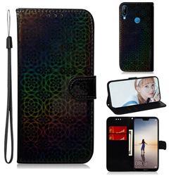 Laser Circle Shining Leather Wallet Phone Case for Huawei P20 Lite - Black