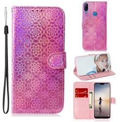 Laser Circle Shining Leather Wallet Phone Case for Huawei P20 Lite - Pink