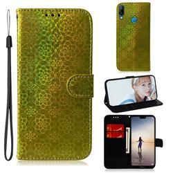 Laser Circle Shining Leather Wallet Phone Case for Huawei P20 Lite - Golden