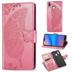Embossing Mandala Flower Butterfly Leather Wallet Case for Huawei P20 Lite - Pink