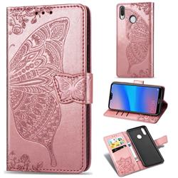 Embossing Mandala Flower Butterfly Leather Wallet Case for Huawei P20 Lite - Rose Gold