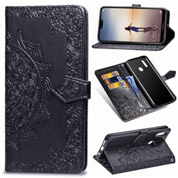 Embossing Imprint Mandala Flower Leather Wallet Case for Huawei P20 Lite - Black