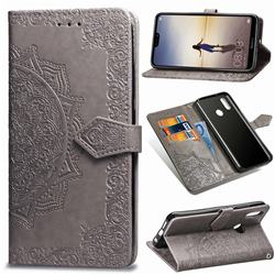 Embossing Imprint Mandala Flower Leather Wallet Case for Huawei P20 Lite - Gray