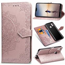 Embossing Imprint Mandala Flower Leather Wallet Case for Huawei P20 Lite - Rose Gold