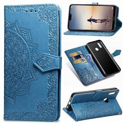 Embossing Imprint Mandala Flower Leather Wallet Case for Huawei P20 Lite - Blue