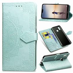 Embossing Imprint Mandala Flower Leather Wallet Case for Huawei P20 Lite - Green
