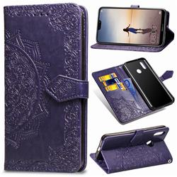 Embossing Imprint Mandala Flower Leather Wallet Case for Huawei P20 Lite - Purple