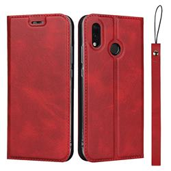Calf Pattern Magnetic Automatic Suction Leather Wallet Case for Huawei P20 Lite - Red